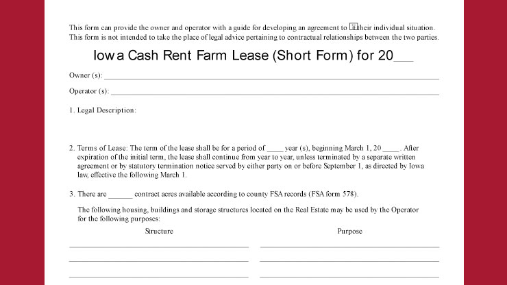 Cash Rent Farm Lease Short Form